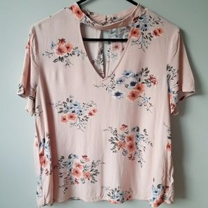 Pink floral choker blouse